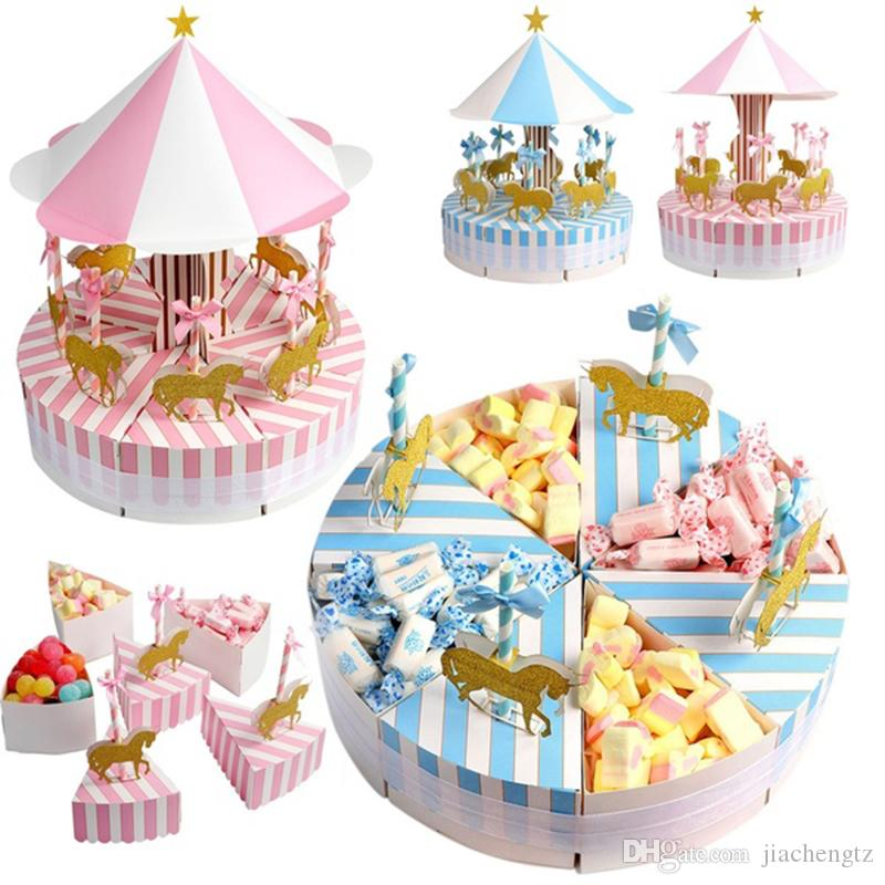 Delicate Paper Gift Box Candy Box for Party Carousel Birthday Party Decorations Kids' Favors Birthday & Wedding Gifts Box