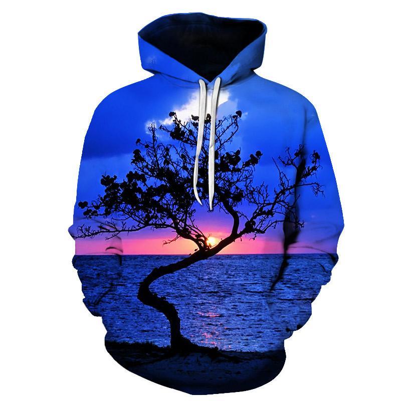 promo code 70f51 82dc4 Felpa con cappuccio autunno felpa con cappuccio da uomo di alta qualità  2019 nuovi uomini di stampa grafica 3D con cappuccio da uomo paesaggio ...