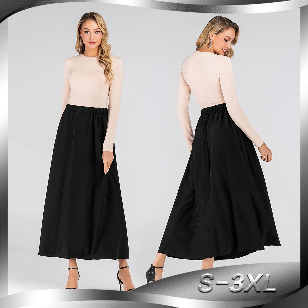 0e318d020 2194 # Mujeres Faldas Largas Elásticas Cintura Alta Maxi Faldas Playa Boho  Vintage Summer Faldas Causal Vestido
