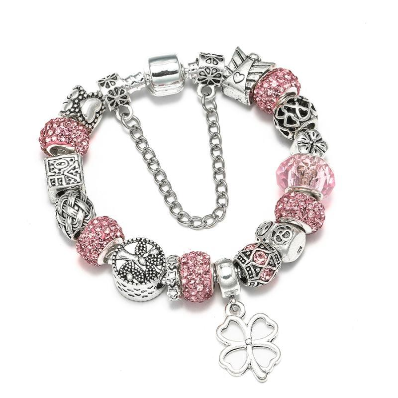 DINGLLY Silver Lucky Charm Bracelets For Women Original Tree of Life Pink Crystal Star Matryoshka Beaded Bracelet Bangle Jewelry