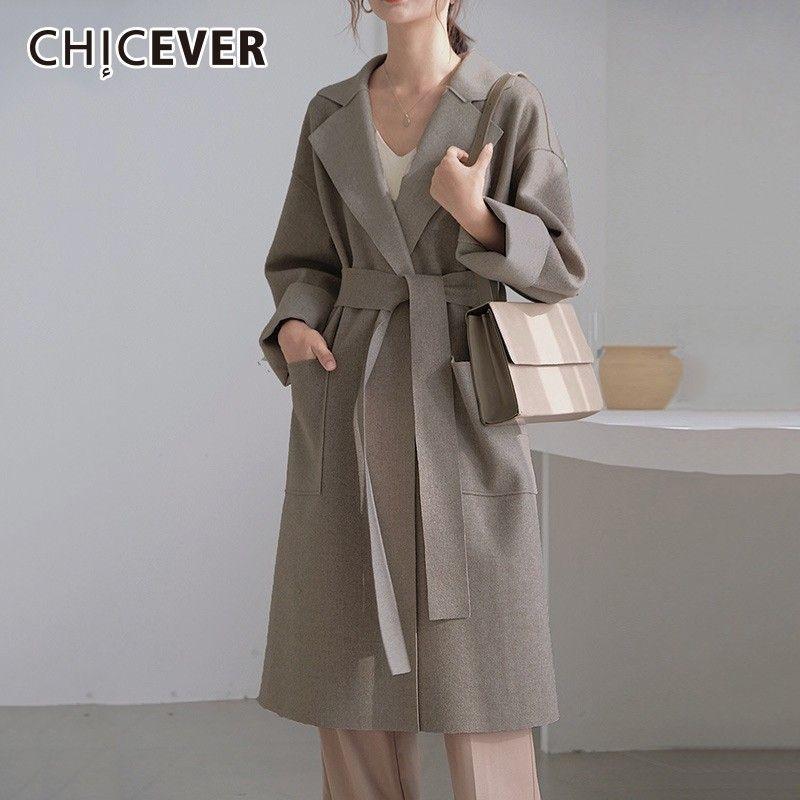 c1a40d4bbf98 2019 CHICEVER Winter Women S Coats Female Jacket Lapel Long Sleeve ...
