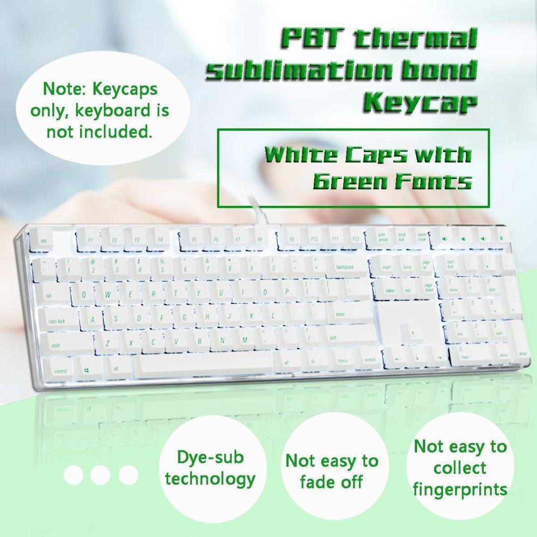 108 Key Keycap Magicforce White Color Green Fonts Dye-sub PBT Keycaps  Keycap Set for Mechanical Keyboard