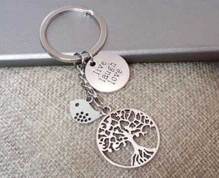 8d9db4336f 2019 Vintage Silver LIVE LAUGH LOVE Tree Of Life Bird Keychain For Keys Car  Bag Key Ring Handbag Key Chains Gifts Crafts Accessories Souveni From  Zj501288, ...
