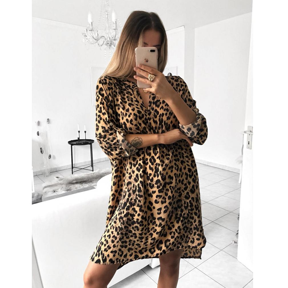 Women Tops Leopard Snake Skin Cobra Print Jumper Dress Plus Size Long  Sleeve V Neck Casual Sexy Mini Dress Without Waist Belt Sexy Dresses  Vintage Dresses ... b52f1a612
