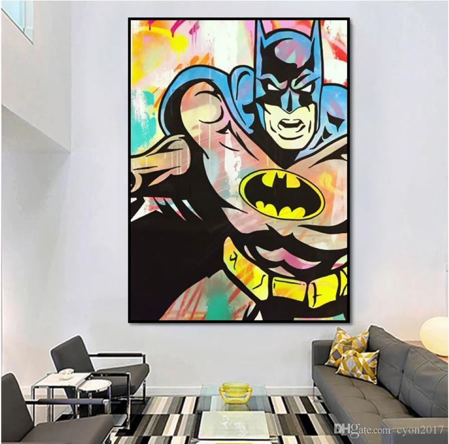 Modern Hand-painted abstract Pop art hand painted Batman on canvas painting good for bar decoration