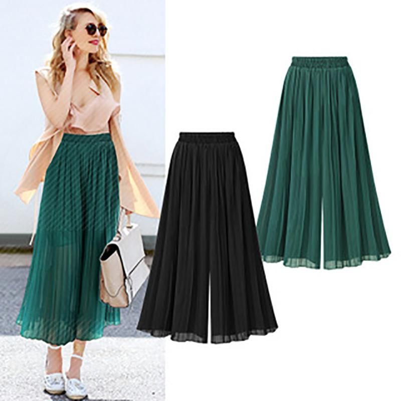 75a7cf433 2019 Plus Size Chiffon Women Pleated Thin Wide Leg Pant Ankle Length Wide  Legged Trousers High Waist Casual Skirts Pants C19041701 From Shen07, ...