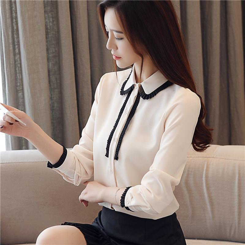 eafc86a19a8f Nueva camisa de manga larga para la primavera 2019 blusas y tops para mujer  Cuello POLO elegante moda Blusa sólida damas camisas 2003 50