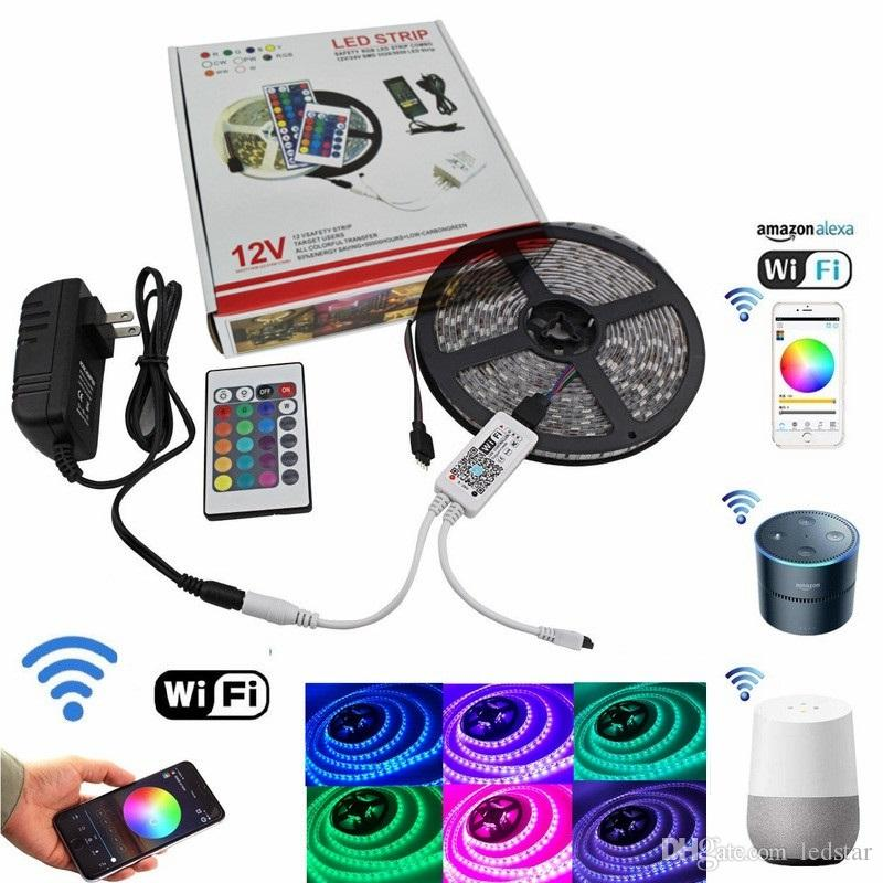 5050 RGB Wifi Controller LED Strip light 5M 60led/m Waterproof Neon Flexible Tape Ribbon Strip + Bluetooth Music Control + 12V Power Adapter
