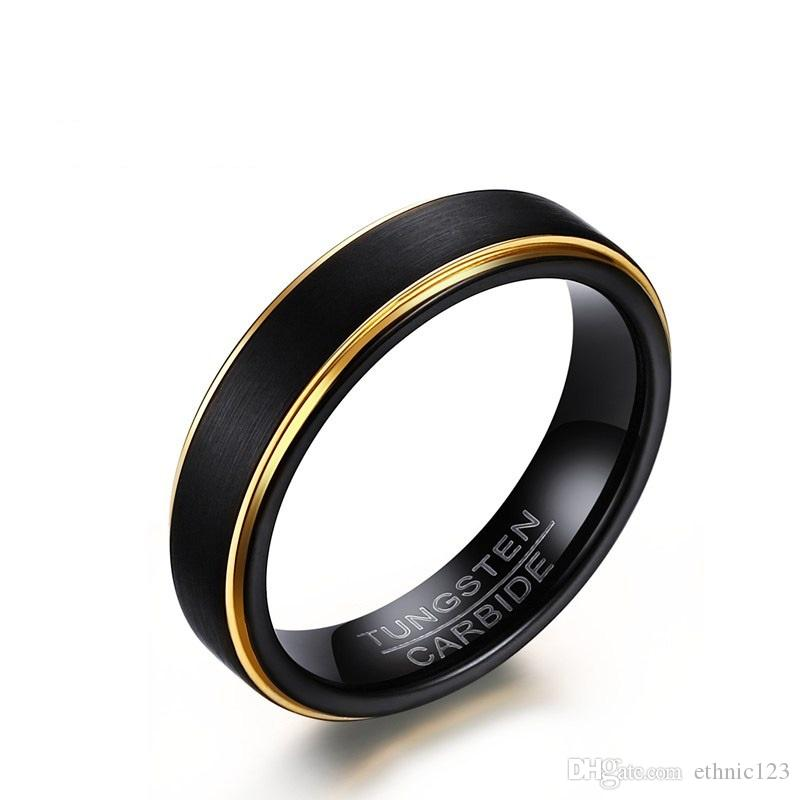 5MM High Quality Black Gold Color Fashion Simple Men's Rings Tungsten Carbide Ring Jewelry Gift for Men Boys J061