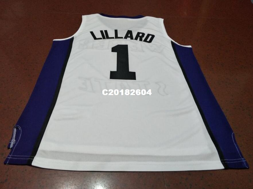 the latest 0801b 1f1b0 high quality #1 DAMIAN Lillard Weber State HIGH SCHOOL College jerseys  RETRO Purple black white or custom any name or number jersey