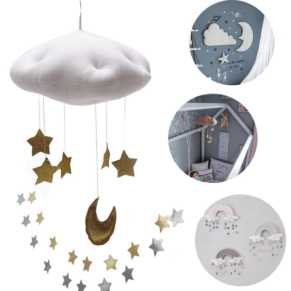 3e1e37fb31f9a Catoon Children House Party Hang Decorations Baby Crib Netting Hangings  Accessories Cloud Star Raindrop Play Tents Decor