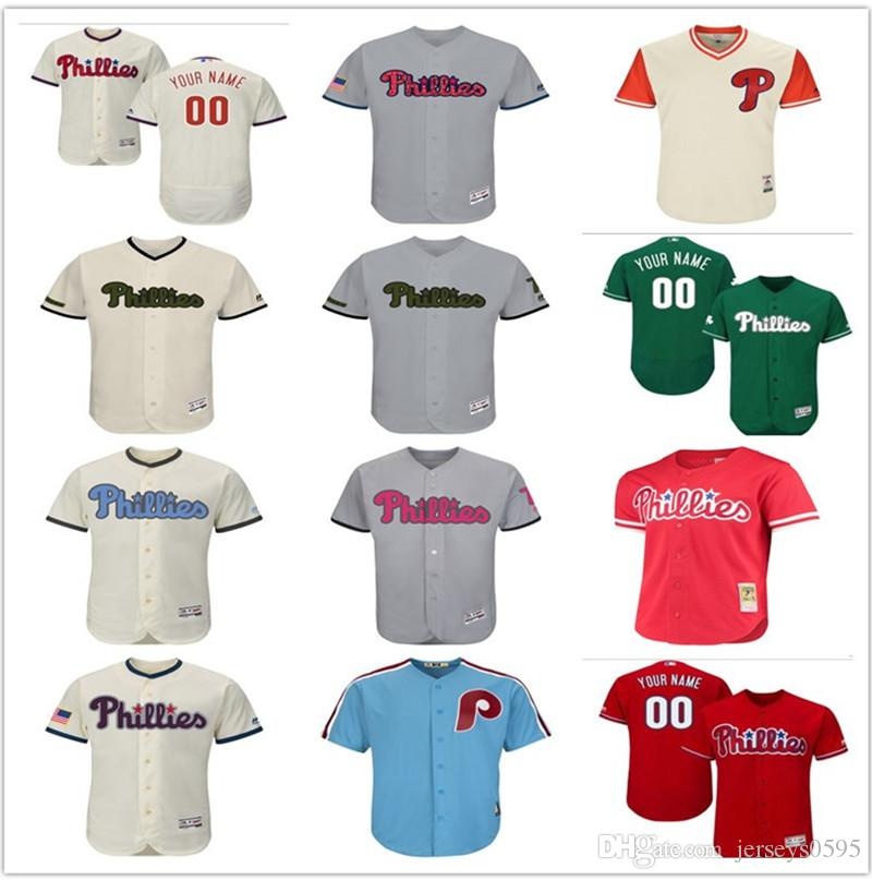 f377378fb 2018 Custom Men s Women Youth Philadelphia Phillies Jersey Any Your ...