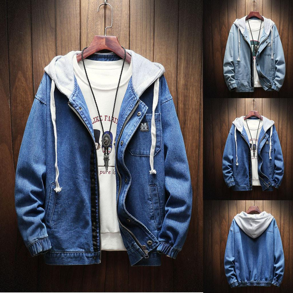 279dfff6ae Men S Autumn Winter Hooded Vintage Wash Distressed Denim Jacket Coat Top  Blouse Jean Jacket Men Winter Warm Hoodies  g8 Outdoor Jackets Mens Leather  Coats ...