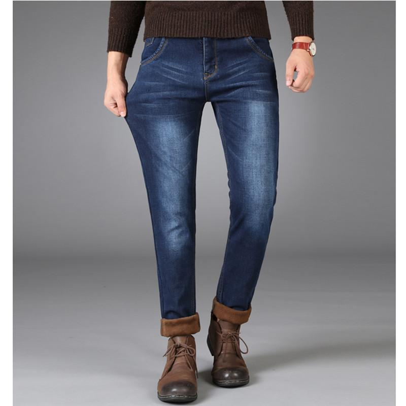 Compre Hombres Jeans De Invierno Casual Stretch Straight Slim Fit Fleece  Jeans De Negocios Moda Sólido Sólido Cálido Terciopelo Grueso Más Tamaño A   46.91 ... 8fe9dc85958