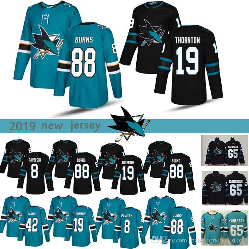 separation shoes e58d5 f94ed San Jose Sharks jersey #8 Joe Pavelski #88 Brent Burns #19 Joe Thornton #42  Joel Ward 2018 Hockey sportswear