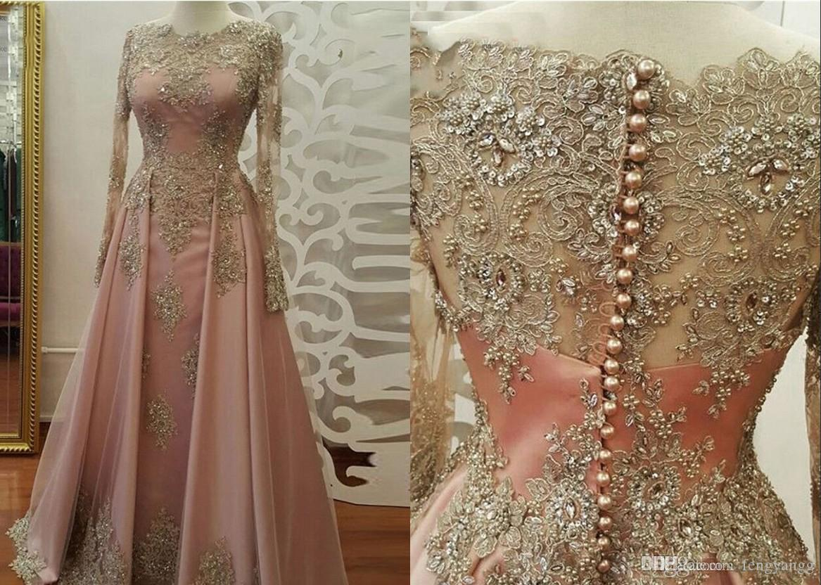 2019 stunning gold lace appliques evening dresses with long sheer