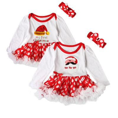 c097c9e82 First Christmas Baby Rompers + Headband Santa Newborn body suits babywears Baby  Romper tutu Dress Baby Girl Long sleeve