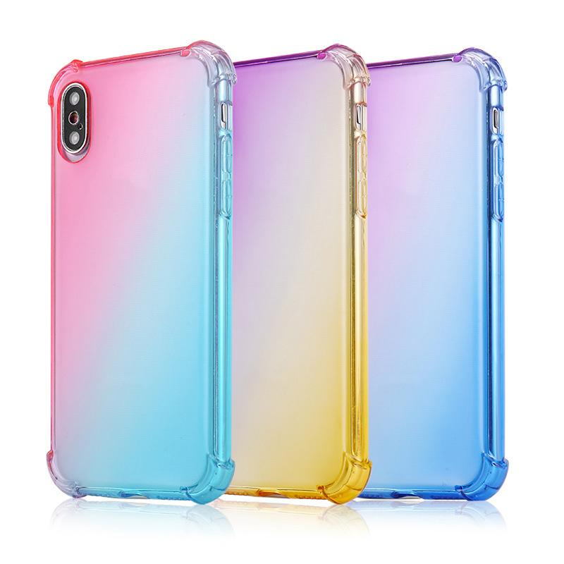 Gradiente Moda Cores Anti Choque Airbag macia Limpar Capa IPhone XR XS MAX 8 7plus 6S para Samsung S10 S9 Nota 9 caixa do telemóvel