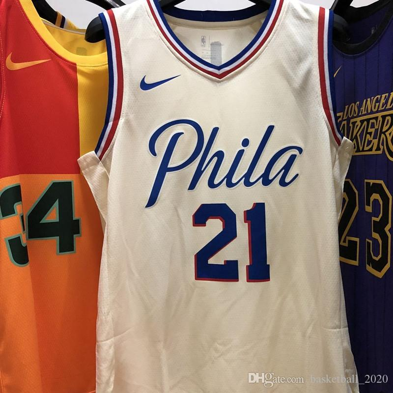 online store 9a8b4 6aedd 2020 Mens 76ers 21# Joel Embiid CIty Whitr Edition Swingman Jersey All Name  And Number printed on the fabric Authentic US Size XXS-XXL