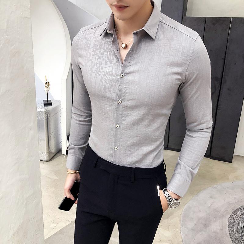 buscar genuino seleccione para oficial amplia selección Camisa Masculina Brand Slim Fit Casual Shirt Men Long Sleeve Top Quality  Business Formal Wear Mens Shirts British Style Tuxedo