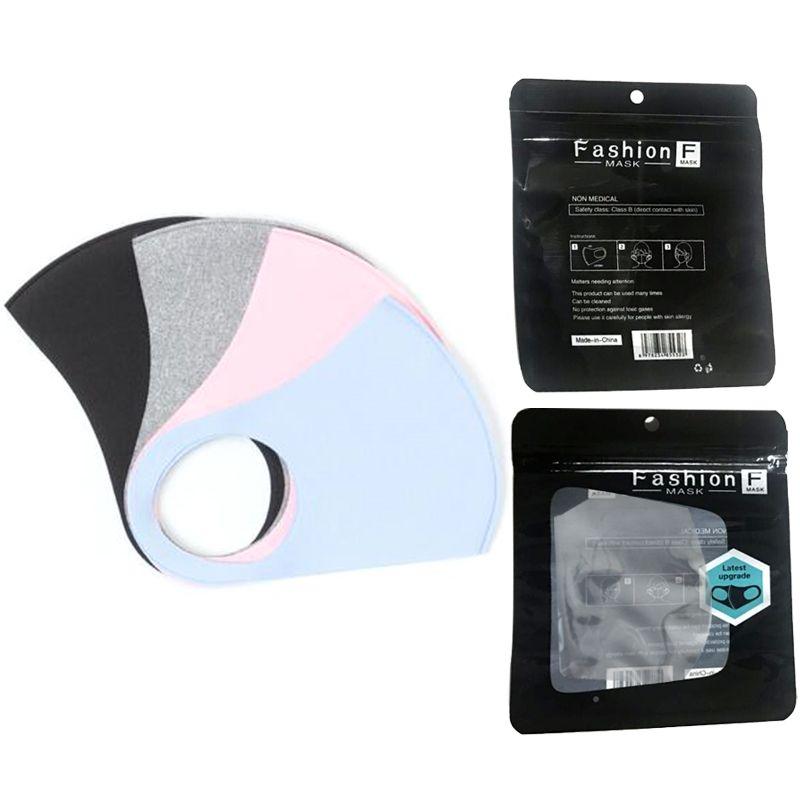 Paquete Máscara boca de hielo lavable Cara Negro regalo individual del polvo anti PM2.5 respirador a prueba de polvo anti-bacterianas reutilizable bolsos de seda