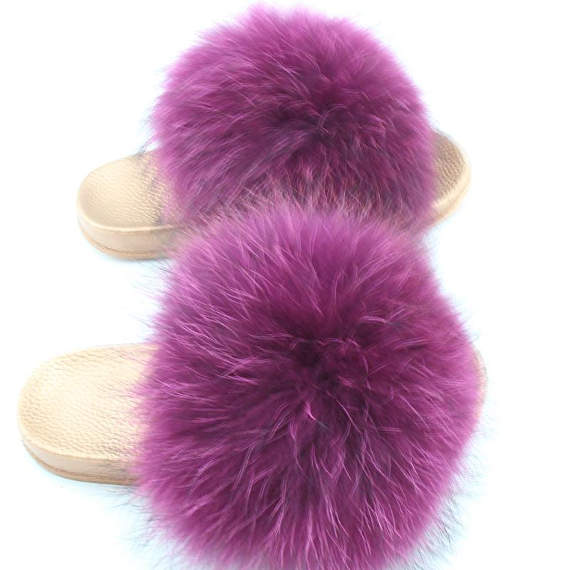 4b2bc1f64af4 2018 Hot Sellers New Women Fur Slippers Luxury Real Raccoon Fur Beach Sandal  Shoes Golden Shoe Sole Slippers Fluffy Comfy Furry Womens Boots Work Boots  From ...