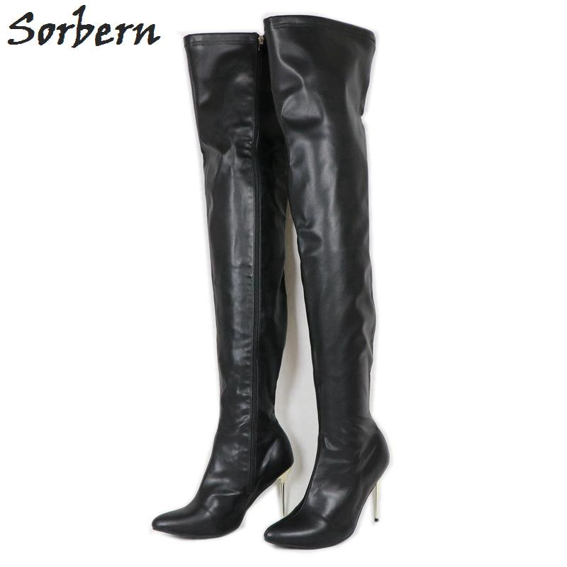 8dbf701fac3 12Cm Gold Steel Stilettos Boots For Women Thigh High Boots Women Plus Size  Shoes Custom Wide Calf Fit Unisex
