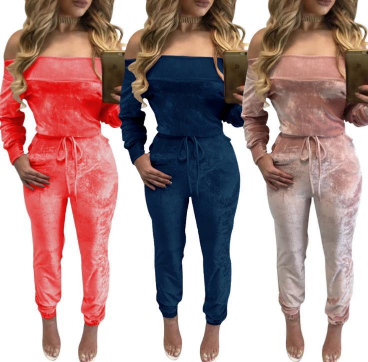 Sexy Off Shoulder Womens Jumpsuits Designer Velvet Solid Color Casual Apparel Women Fashion Rompers