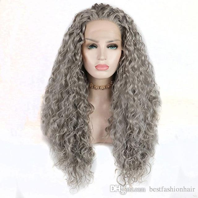 Grey Synthetic Wig 180 Density For White Women Glueless Heat Resistant Fiber Hair Silver Grey Curly Synthetic Lace Front Wigs