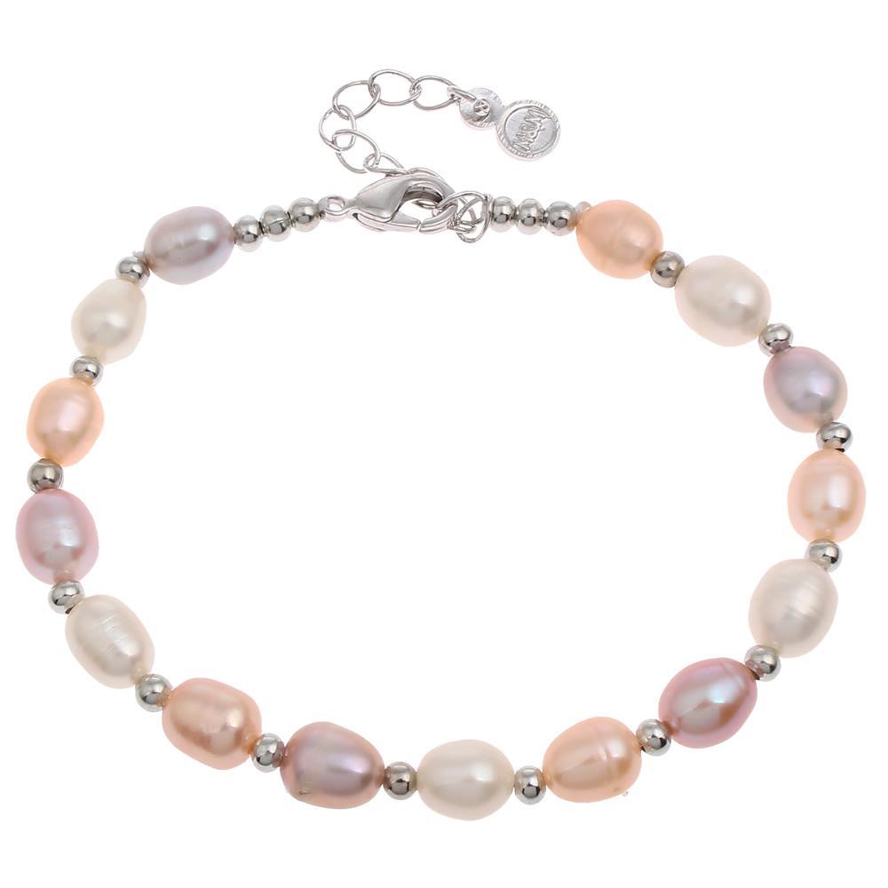 New Hot Silver-couleur Perles Charme Bracelets Bracelets De Mode Naturel Perle D'eau Douce Bracelet De Mariage De Perle De Mariée Cadeaux Femme