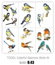 TCOOL Colorful Sparrow Birds Women Temporary Tattoo Sticker Tattoos for Waterproof Kids Body Art Tatoo 9.8X6cm A-185