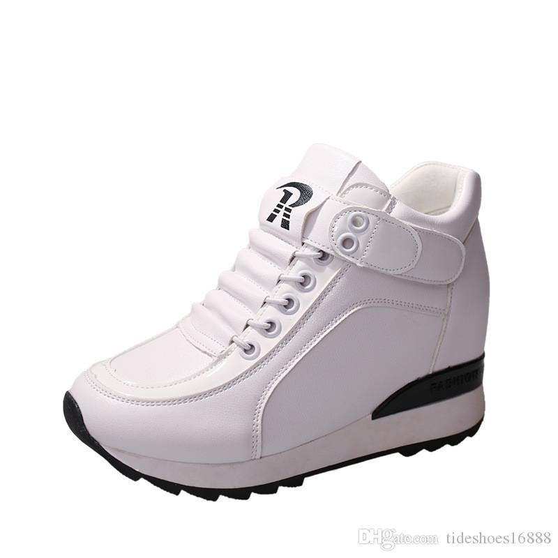 2e18fd9fc29c Casual Wedges Women Shoes Hidden Heels Height Increasing 6CM Woman Wedge  Platform Shoes High Quality Leisure White   Black Sneakers Running Shoes  Shoes ...