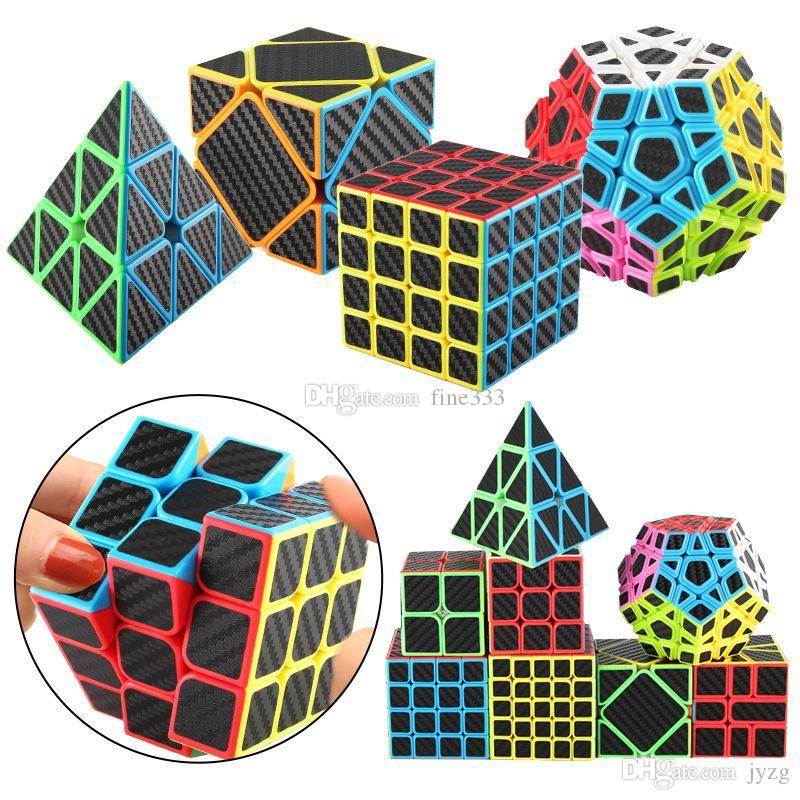Rubix Cube Speed Cube 3x3x3 Smooth Magic Carbon Fiber Sticker Rubix Speed Cube Cool Children Magic Cubes Toys Kids Gifts