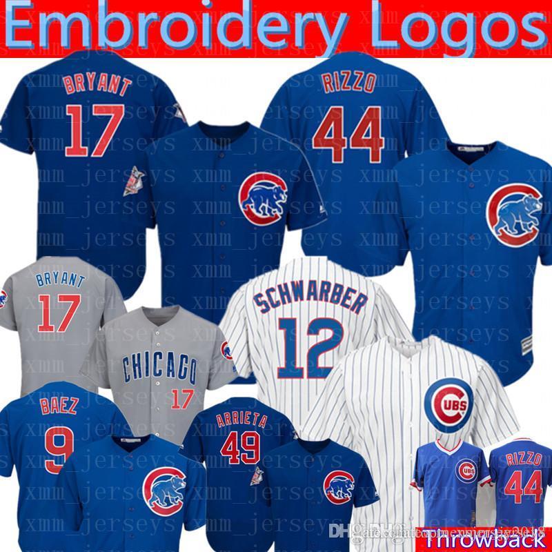 b304930a2 Compre Camisola De Beisebol De Chicago Cubs 44 Anthony Rizzo 17 Sapatilha  De Beisebol De Kris Bryant 12 Kyle Schwarber 9 Javier Baez 22 Jason Heyward  23 ...