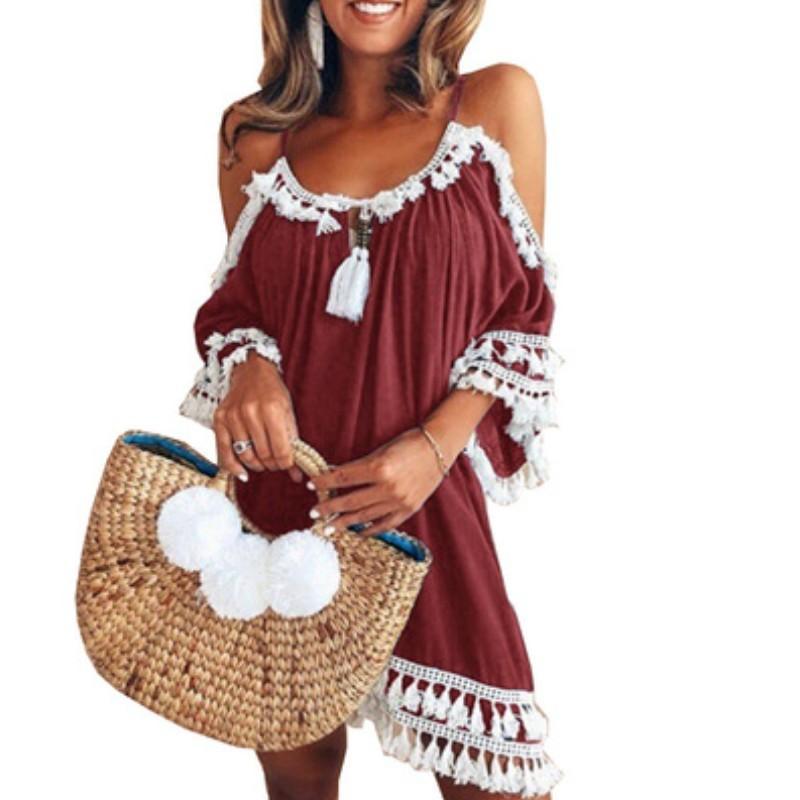 432d6c492691d3 YSMARKET 5XL Plus Size Sexy Boho Vestidos Para As Mulheres Verão Estilo  Crochet Borla Swimsuit Biquíni Pom Pom Guarnição Swimwear Beach Cover Up ...