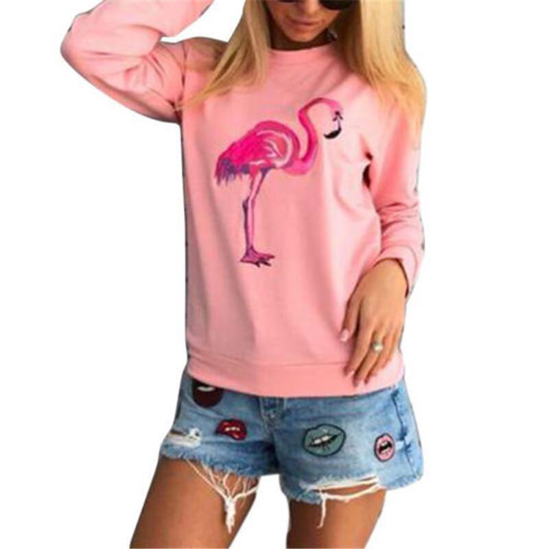 5981768555 UK Ropas Flamingo Print Women Long Sleeve Hoodies Sweatshirts Autumn Winter  Pullover Female Cotton Tops Jumper Hoody Plus Size Online with  29.47 Piece  on ...