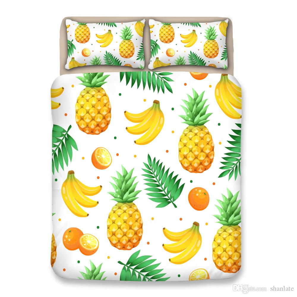 Gift Pineapple Orange Banana Pattern Bedding Set Quilt Duvet Cover With 2 Pillowcase Twin Full Queen King Size Drop Shipping Linen Duvet Covers Brown Duvet ...