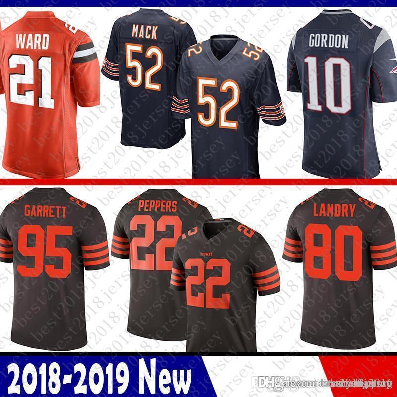 best website 9bab8 e1c5d 52 Khalil Mack Bears Jersey Patriots 10 Josh Gordon 21 Denzel Ward Browns  95 Myles Garrett 80 Landry 22 Jabrill Peppers