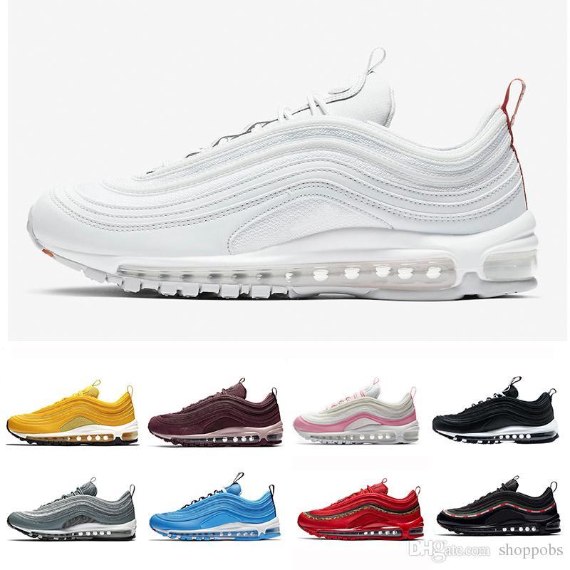 Nike Air Max 97 2019 OG QS Tripel Blanco Negro Metálico Oro Plata Bullet PRM WHITE 3M Premium Hombres Zapatos Para Hombres Mujeres ShopPobs