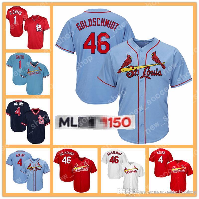 d8ce77b6 2019 St. Louis 4 Yadier Molina Mens 150th Cardinals Jersey 46 Paul  Goldschmidt 1 Ozzie Smith 25 Dexter Fowler White Red Baseball Jerseys From  ...