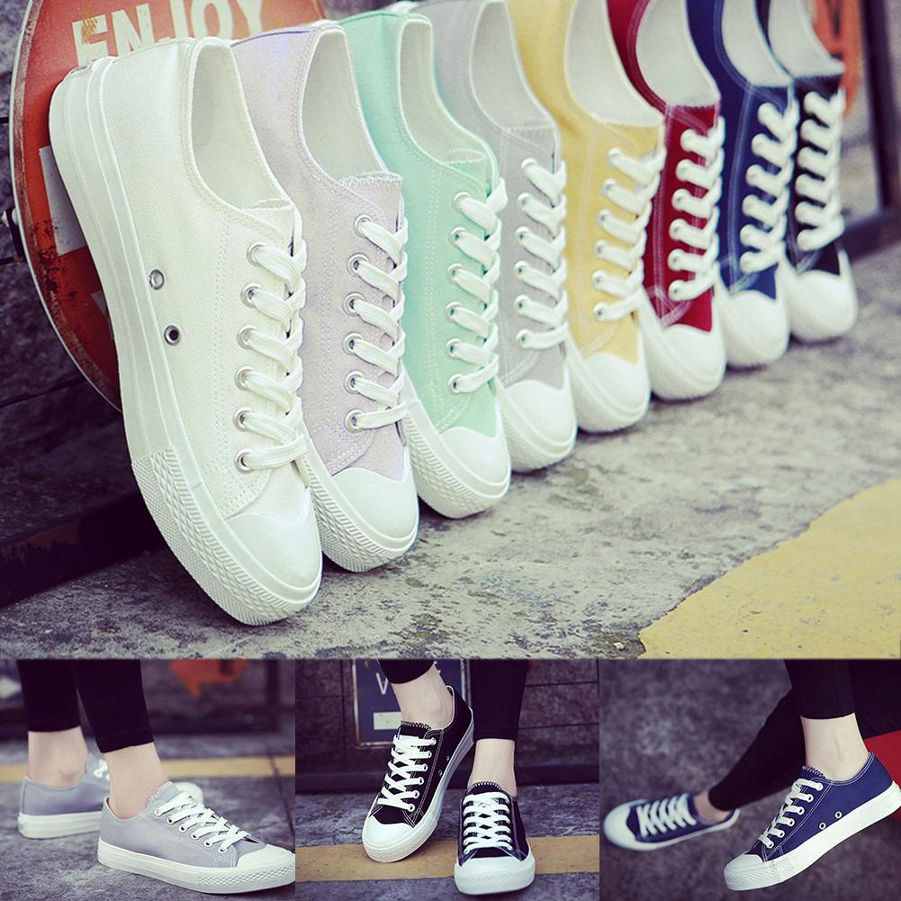 525f8d40ccab Unisex Skateboarding Canvas Shoes Lace Up Causal Sports Sneakers Women  Girls Student Daily Outdoor Wear Solid Color Flat Shoes Red Shoes Footwear  From ...