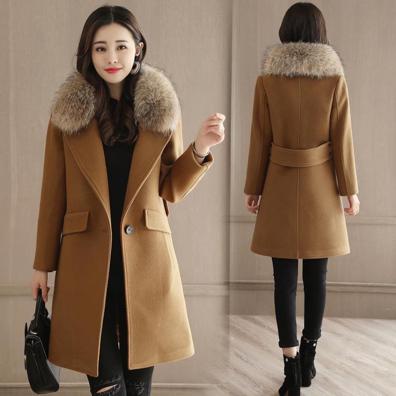 565da218e941 Abrigos largos para mujer Office Lady Slim Abrigos largos de invierno 2019  Abrigo y chaqueta de mezcla de lana Abrigos para mujer Abrigos