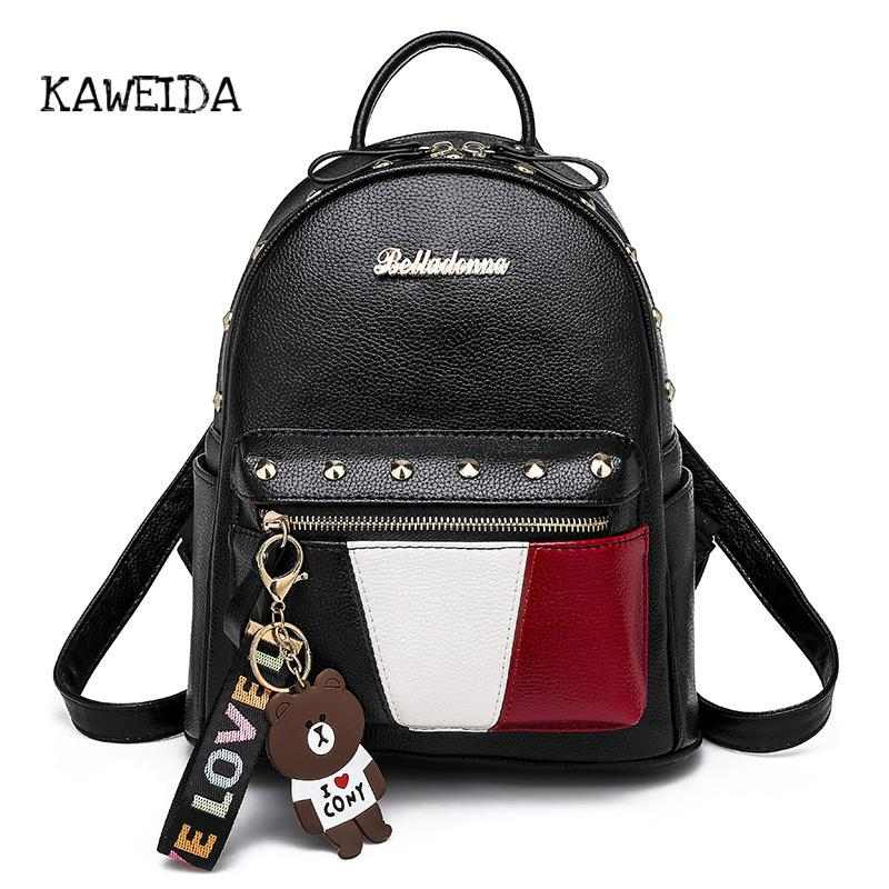 2019 Women Preppy Style Panelled Color Print Backpack Black Studded PU Faux  Leather School Bag Small Fashion Rivet Travel Pack Backpack Brands Rucksack  ... d8dceab3d64c8
