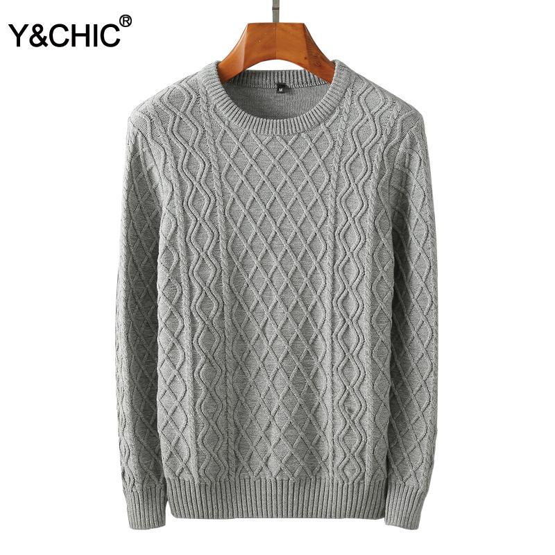 85456c7fc5f1 2019 Y&CHIC Standard Fit Men'S Long Sleeve Cable Knit Crewneck Pullover  Sweater In Pure Cotton Solid Casual Top From Clothfirst, $42.69 | DHgate.Com
