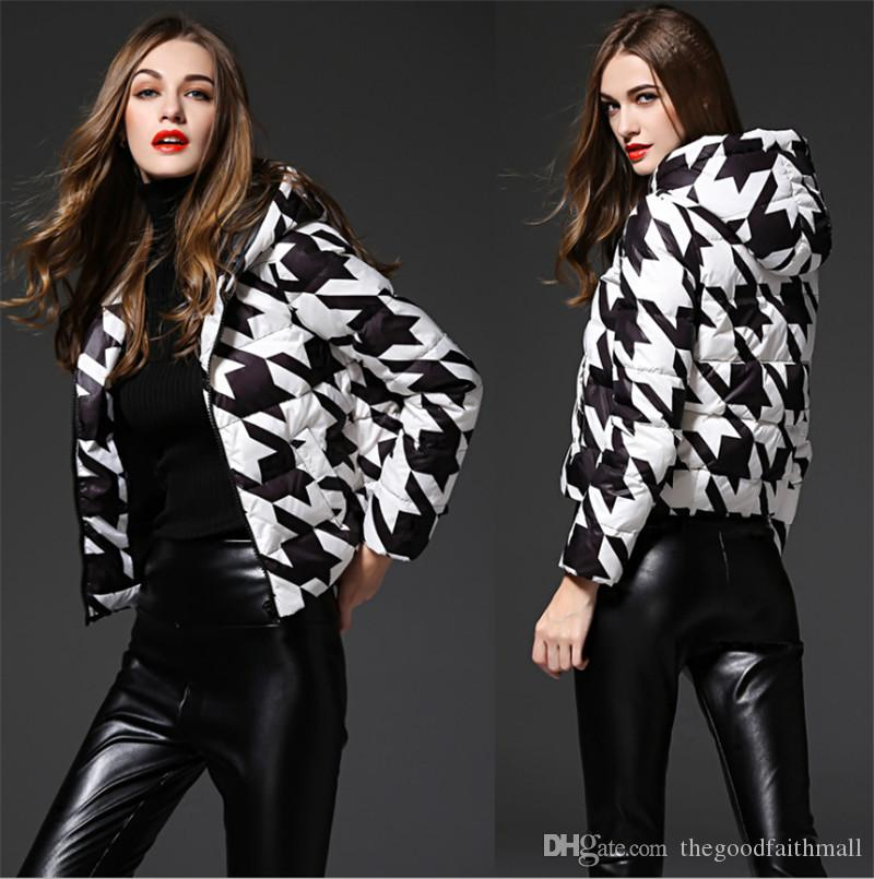 Woman Autumn Winter Down Jacket Black White Block Design Duck Down Hoodie Women Outerwear High Quality Popular Zipper Bubble Puffer Coat