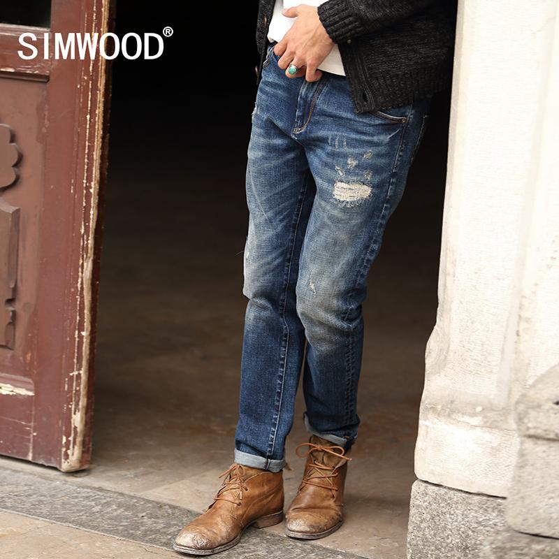 bdb6f9794a Compre SIMWOOD 2016 Nuevo Otoño Invierno Jeans Hombres Causal Moda  Pantalones De Mezclilla Hombre Patchwork Agujero SJ6031 A  40.3 Del  Cardigun