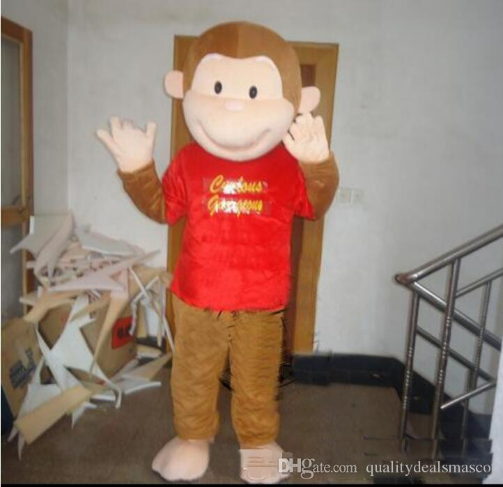 High quality hot Adult size Cartoon Curious George monkey Mascot Costume mascot halloween costume christmas Crazy Sale