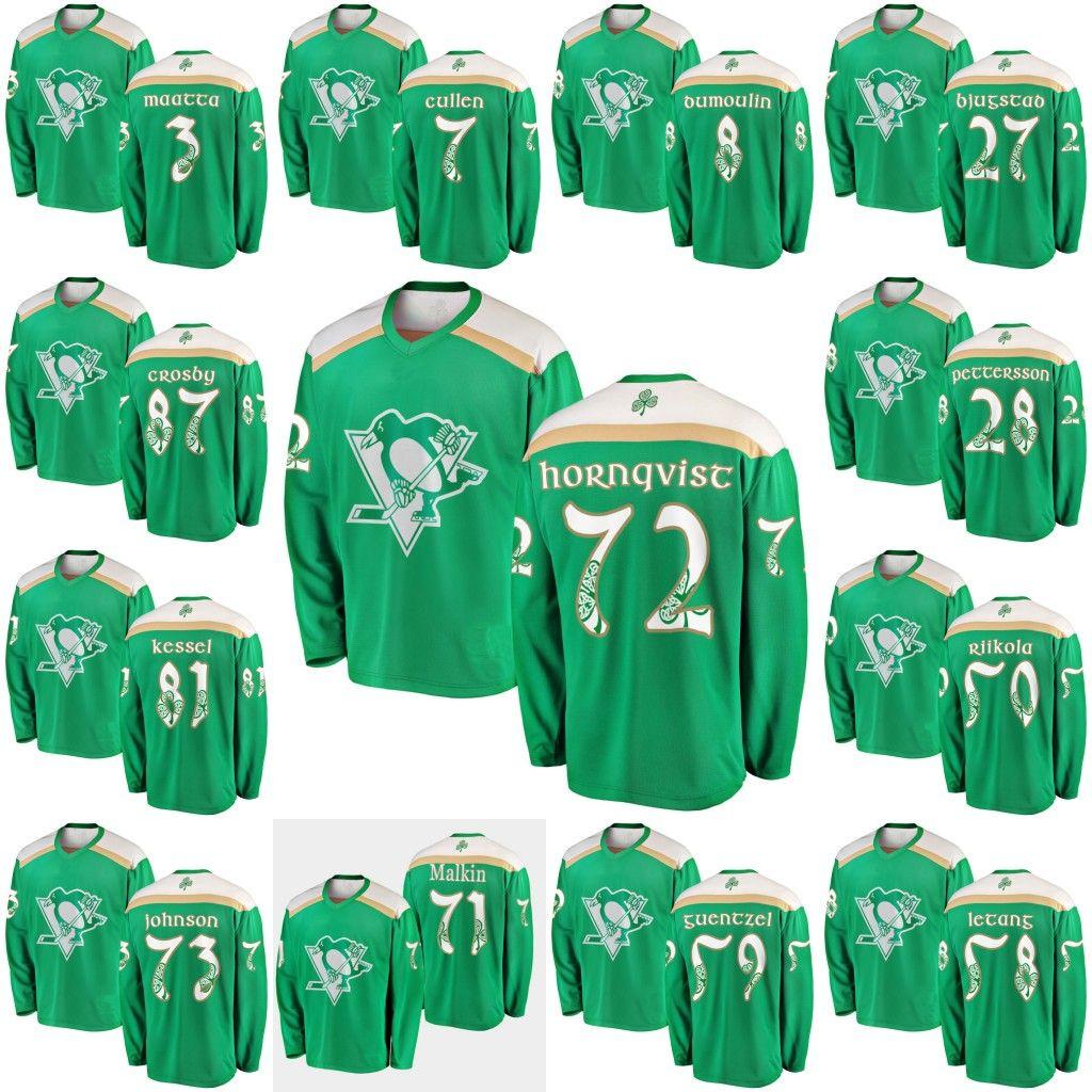 buy popular a18e3 705a5 Green 2019 St. Patrick's Day Jersey 72 Patric Hornqvist 81 Phil Kessel 71  Evgeni Malkin 58 Kris Letang 87 Sidney Crosby Hokcey Jerseys