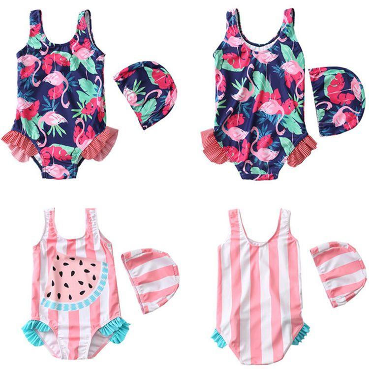 Symbol Of The Brand Children Girls Flamingo Swimwear Kids Striped Ins Fashion One Piece Bathing Suit Boutique Girls Beach Wear Swimwear