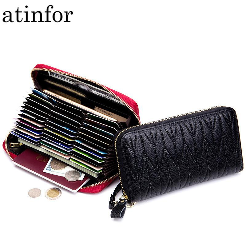 c261bee3b1cd Genuine Leather Rfid Blocking Credit Card Holder Women Wrist Clutch ...